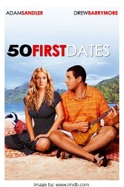 Adam Sandler and Drew Barrymore on the 50 First Dates movie cover.
