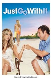 Adam Sandler and Jennifer Aniston on the romantic comedy movie cover of Just Go With It.