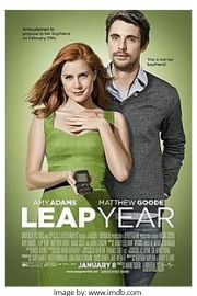 Amy Adams and Matthew Goode on the romantic comedy movie cover of Leap Year.