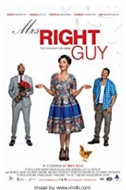 DineoDineo Moeketsi on the romantic comedy movie cover of Mrs Right Guy.
