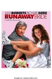 Richard Gere and Julia Roberts on the Runaway Bride movie cover.