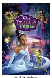 Animated young waitress, Tiana turned princess and frog prince  on the romantic comedy movie cover of the Princess and the Frog.